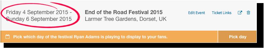 Flexible festival listing